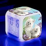HUA-Alarm clock Süße Tier Katze Bunte Quad Wecker Kreative Kleine Wecker Schüler Kinder Wecker 9x9x9cm/ 18.