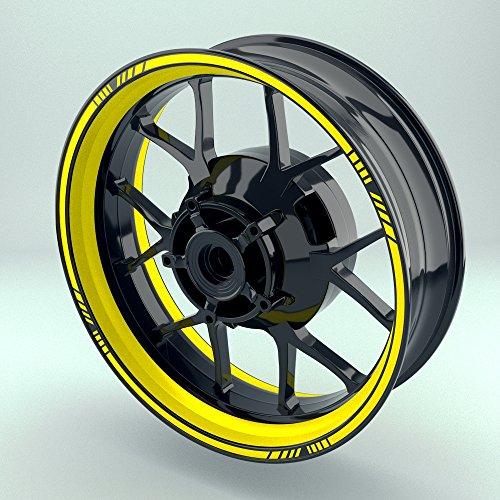 OneWheel Felgenrandaufkleber Motorrad & Auto (16-19 Zoll) - Felgenstreifen Set (Gelb - glänzend)