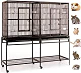 Mcage New Large Wrought Iron Double Cage w/Slide Out Divider 3 Levels Ferret Chinchilla Sugar Glider Cage 63' Length x 19' Depth x 64' Height W/Stand on WheelsBlack Vein