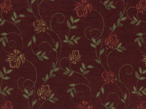RaumTraum Landhausstil Möbelstoff Como Floral mit Fleckschutz Farbe Wein (rot, dunkelrot) - Flachgewebe (Floral, Ranke), Polsterstoff, Stoff, Bezugsstoff, Eckbank, Couch, Sessel, Hussen, Kissen