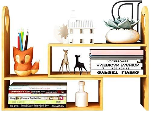 Soporte para plantas Revista Bastidores multifuncional estantería de bambú creativo de escritorio simple Mini Almacenamiento soporte de exhibición soporte de flor de Sobremesa 42x15x45CM A + flores Es