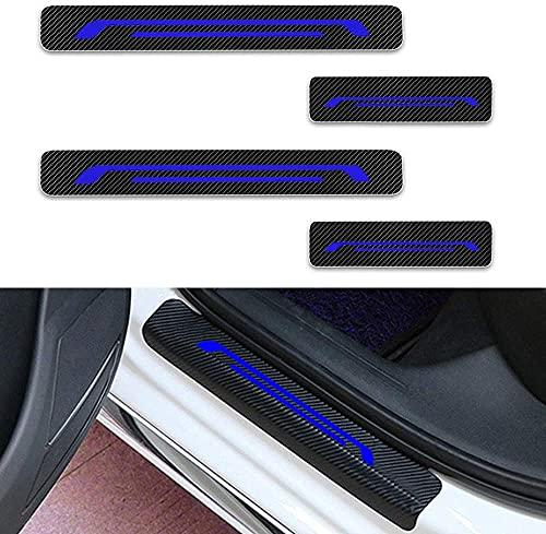 4 piezas de fibra de carbono para puerta exterior de coche, protectores de patas para Edge Ecosport Escape F-250 F-350 F-450, protector de arañazos, cubierta de umbral, pedal, antiarañazos,Blue