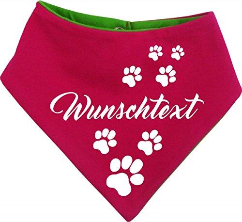 KLEINER FRATZ beidseitiges Multicolor Hunde Wende- Halstuch (Fb: pink-Lime) (Gr.3 - HU 36-44 cm) mit Ihrem Wunschtext