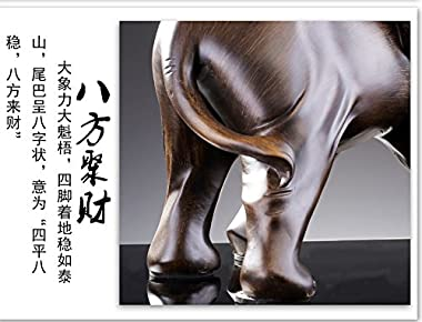 Feng Shui Elephant Statue Rosewood Color Wealth Lucky Figurine Office Home Decor Sculpture Gift