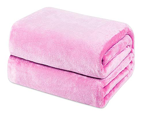 Mantas de Franela 150x200cm Súper Suaves Esponjosas para El Sofá Cama Colcha de Microfibra,tamaño Doble/Matrimonio, Rosa