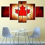 zlxzlx Vinilo Decorativo Decoración para El Hogar Cuadros De La Sala 5 Paneles Naturaleza Muerta Bandera De Canadá Moderno HD Impreso Wall Art Framework Lienzo Imágenes-30x40cm 30x60cm 30x80cm