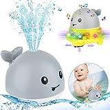 Juguetes de Baño para Bebés,Juguete de Agua,Juguete de Fuente Musical,Juguete de Baño para Bebé,Artículos de Baño para Niños Pequeños,Juguete Sensorial de Rociado de Agua 2 en 1 (Gris)