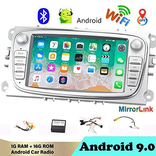 AutoRadio Bluetooth 2 DIN 7'Android 9.0 Reproductor Multimedia para Auto Audio de automóvil WiFi Navegación GPS Autoradio para Fo/rd/Focus/S-MAX/Mondeo 9 / GalaxyC-MAX Plata