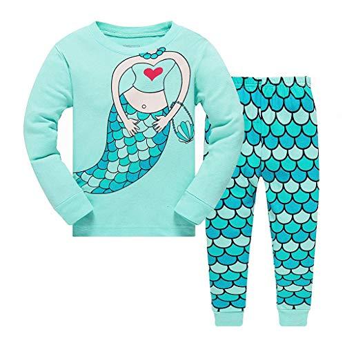 LEXUPE Kinder Maedchen Bekleidung Langarm zweiteilig 100% Baumwolle Schlafanzug niedlich Hasen Blumen Prinzessin Unicorn(D-Blau,4-5Jahre