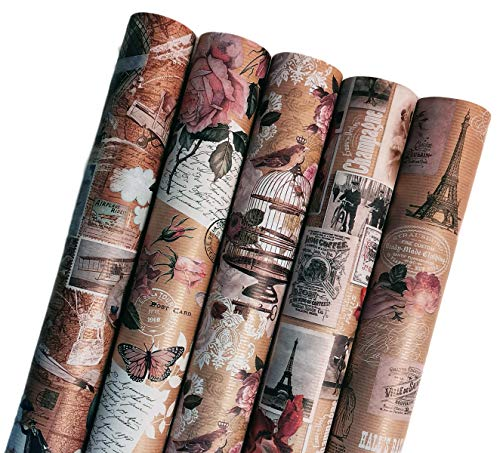 Premium Romantik Geschenkpapier Paris Retro Ökologisches Recycling Papier 5 Rollen a` 2m x 70cm Natur Geschenkverpackung für Geburtstag Hochzeit Valentinstag Kraftpapier (Romantic Paris)
