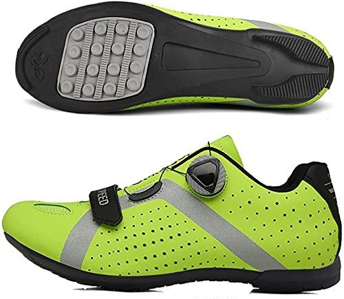 KUXUAN Calzado de Ciclismo para Hombre,Calzado de Ciclismo Sin Bloqueo Calzado Deportivo para Mujer Calzado de Refuerzo para Bicicleta/Suelas de Goma,Green-44EU