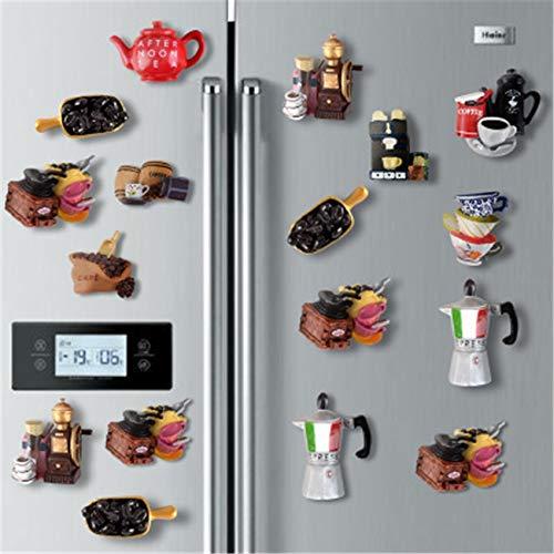 shenlanyu Imán de Nevera Envío Al Azar Estilo De Electrodomésticos De Café Mocha Kettle Coffee Bean Coffee Pot 3D Fridge Magnet Sticker Decoración del Hogar Nevera Accesorios