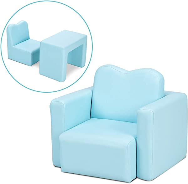 Costzon Kids Sofa 2 In 1 Multi Functional Kids Table Chair Set Sturdy Wood Construction Armrest Chair For Boys Girls Blue