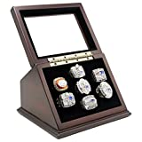 Trophies Collectible Championship Rings Display Case Box with 7 Holes and Slanted Glass Window for Any Championship Rings -Rings are Not Included
