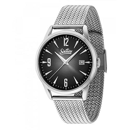 Sixties Unisex Erwachsene Analog Quarz Uhr mit Edelstahl Armband SIX500SME-01
