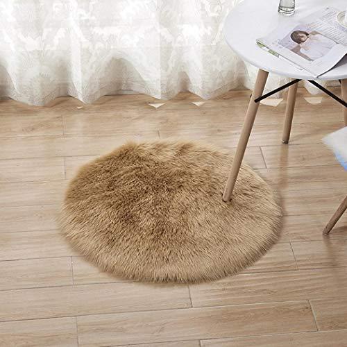 Sasarh Moderne Décoration de la Maison Ronde Fluffy Chaud Confortable en Peluche Tapis Zone Tapis F Kaki