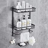 Hoomtaook Estanteria Baño Sin Taladro Estanteria Ducha Estanteria Baño para de Baño Ducha con una Caja de jabón 2 Niveles Negro