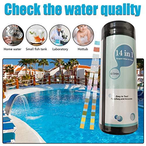 HROIJSL 14 In 1 Poolwasser Teststreifen Pool Teststreifen Spa Whirlpool Teststreifen PH Chlorgehalt Gesamtalkalität Gesamtchlor Gesamthärte Pool Swimming Schnelltest Aquarium-Wasser (50)