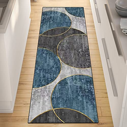 QQrunner Alfombra de Cocina Azul Gris Antideslizante Lavable Larga Entrada Felpudos Moqueta Corredor, Personalizar Talla, Ancho 60cm/ 80cm/ 100cm/ 120cm (Size : 80×350cm)