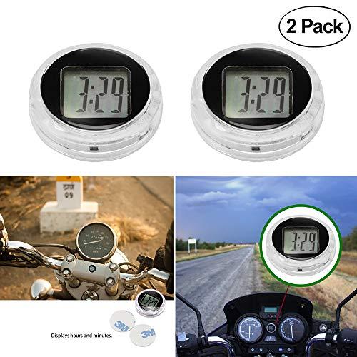 Fornorm Universal Mini Motorcycle Clock Watch Waterproof Stick-On Motorbike Digital Clock Dia. 1.1- 2 Pack
