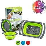 Kool Kitchen Pros 3pz Set scolapasta Pieghevole - Scolapasta Multiuso in Silicone Senza BPA - Colander in Silicone per Pasta, scolapasta per Verdure, scolapiatti per Alimenti, colino per Il lavabo
