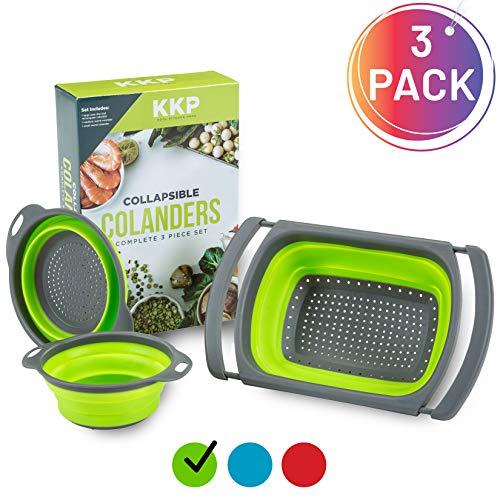Kool Kitchen Pros 3er Sieb Set – Faltbare Siebe – BPA-freies Silikonsieb – Küchensieb als Nudelsieb, Abtropfsieb, Gebmüsesieb und Spülbeckensieb – Spülmaschinenfeste Seiher (Grün)