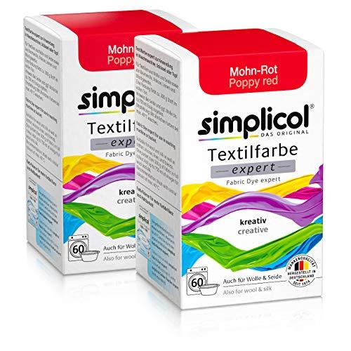 Simplicol Expert Fabric Dye Tinte de Coloración para Textiles: Lavado a Mano o Lavadora - Tiñe y Restaura Sus Telas y Ropa - Rojo