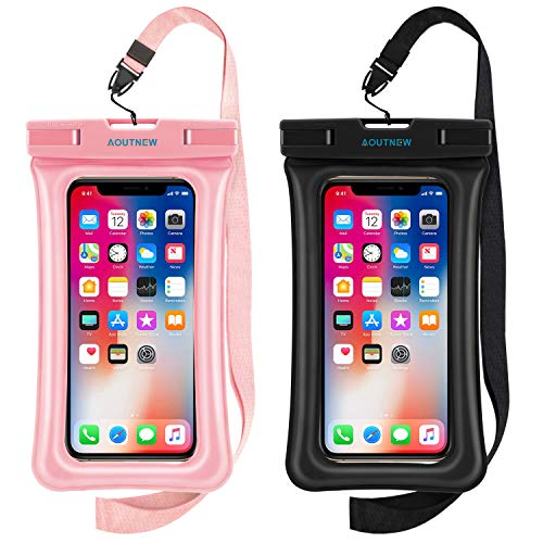 AOUTNEW Floating Waterproof Cell Phone Case Pouch Underwater iPhone Case Pouch Waterproof Cellphone Bag Pouch, Cell Phone Dry Bag Up to 6.5 Inches for iPhone 11/11Pro/11Pro Max/X/8/7/6/Samsung Galaxy