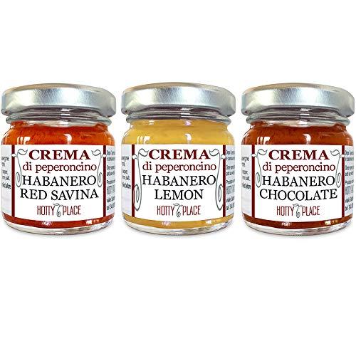 3 creme HABANERO: RED SAVINA, LEMON, CHOCOLATE peperoncino crema Piccante MEDIO Kit 90g tot.