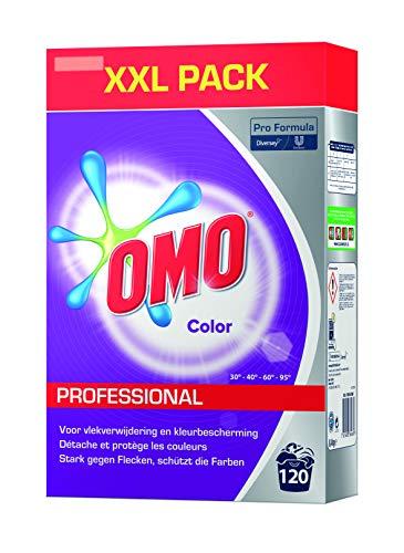 Omo Professional 100963000 Buntwaschmittel, Pulver für leuchtende Farben, kein Verbleichen, hohe Flecklösekraft, für 120 Wäschen