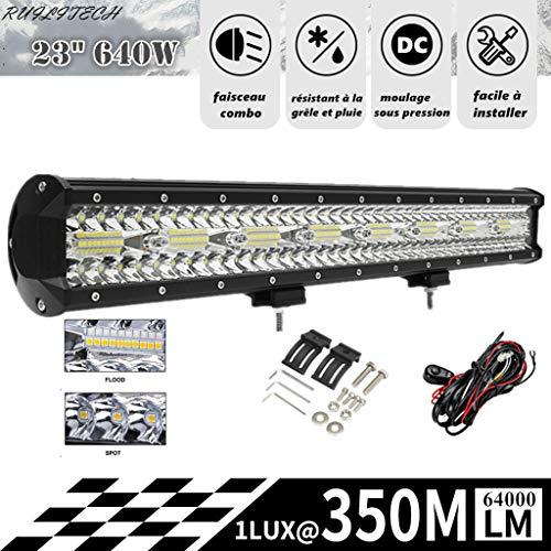 """RUILITECH 23"""" 640W 12v 24v 3-Rangées Barre Lumineuse LED Faisceau Combo Travail pour Tracteur Bateau Hors Route 4WD 4x4 Camion SUV ATV + Kit De Câblage"""