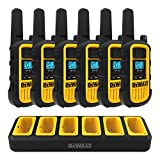 DEWALT DXFRS800 2 Watt Heavy Duty Walkie Talkies - Waterproof, Shock Resistant, Long Range & Rechargeable Two-Way Radio with VOX (6 Pack w/ Gang Charger) (DXFRS800-BCH6)