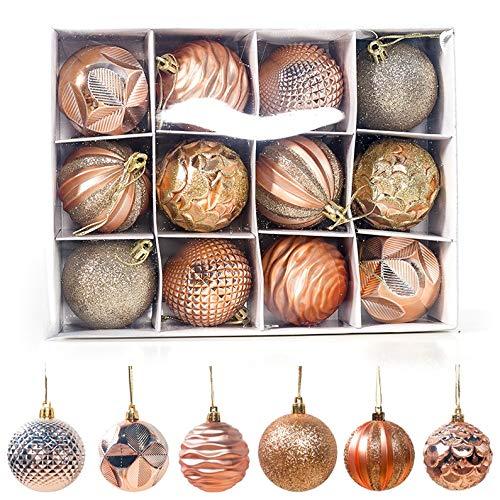 Sunsbell 12 Piezas de Bolas de Navidad Decoración Navideña para Árbol de Navidad/Decoración del Hogar/Boda/Cumpleaños/Fiesta/Caja de Regalo Etc,dorado-60Mm