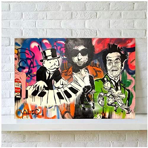 NFGGRF Alec Monopoly Piano Monopoly póster e impresión Pintura al óleo decoración del hogar Arte de Pared sobre Lienzo Impresiones -60x90cm sin Marco