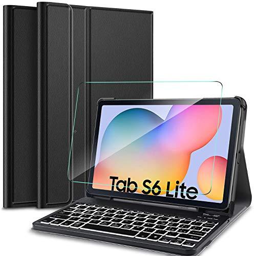 IVSO Italiana Tastiera per Samsung Galaxy Tab S6 Lite, con é.ç .§, per Samsung Galaxy Tab S6 Lite 10.4 P610/P615 2020 Pellicola, 7 Colori Backlit Wireless Tastiera con 2.5D, 9H Vetro Temperato, Nero