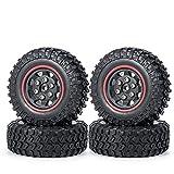 AXspeed 4PCS/Set Beadlock Llantas y Neumáticos Neumáticos para Axial SCX24 AXI90081 RC Accesorios de Coche (Negro y Rojo)
