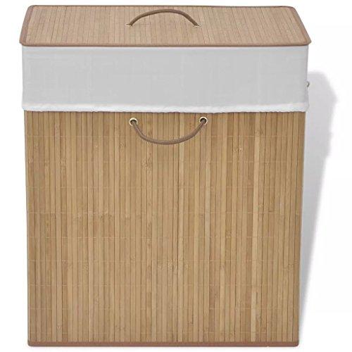 Cesto de bambú para ropa con tapa y bolsa interior extraible