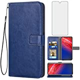 Asuwish Compatible with Moto Z4/Moto Z 4 Play/MotoZ4 Force Wallet Case Tempered Glass Screen Protector Card Holder Accessories Phone Cases for Motorola 4Z Motoz4cases MotoZ4Play XT1980-4 2019 Blue