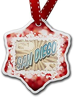 Dozili Christmas Tree Decoration Greetings from San Diego Vintage Postcard Red 3 inch Ceramic Ornaments Merry Gifts