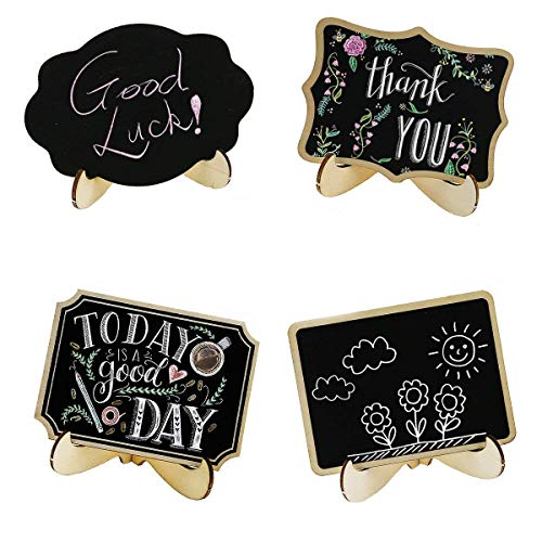 Winterworm 20 Pcs Wood Mini Chalkboard Signs with Support Easels, Rectangle Chalkboard Blackboard,Signs Place Cards,Message for Home,Wedding,Party Decorations