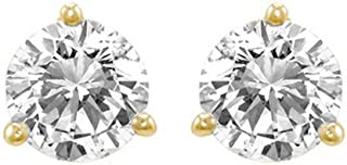 1/2 Carat Ideal Cut Diamond Stud Earrings 14K Yellow Gold Round Brilliant Shape 3 Prong Push Back (H-I Color, SI1-SI2 Clarity)