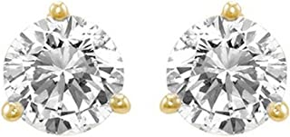 1 Carat Solitaire Diamond Stud Earrings Round Brilliant Shape 3 Prong Screw Back (J-K Color, I2 Clarity)