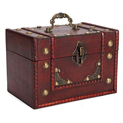Heqianqian Treasure Cofre Cajas de almacenamiento de madera Vintage Caja de almacenamiento de escritorio Libros Archivos Sundries Organizador Caja de almacenamiento Retro Caja con cerradura