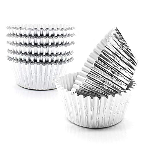 Cupcake Liners Silver,GOLF Standard Size Silver Foil Cupcake Liners Wrappers Metallic Baking Cups ,Muffin Paper Cases, 100 Pack