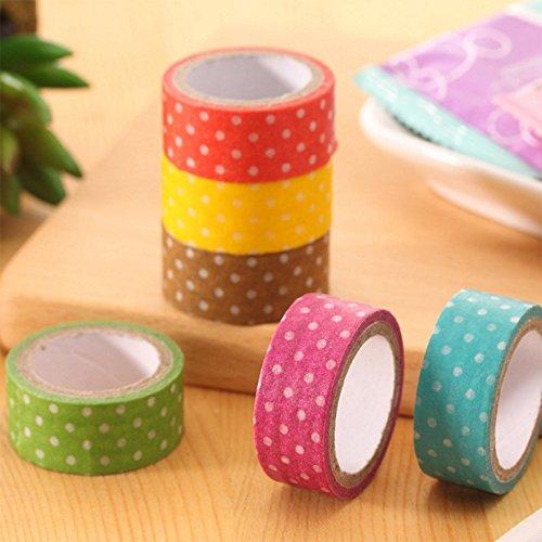 MFINHOME 6 Rolls Dot Print DIY Decorative Adhesive Sticker Masking Paper Roll Tape