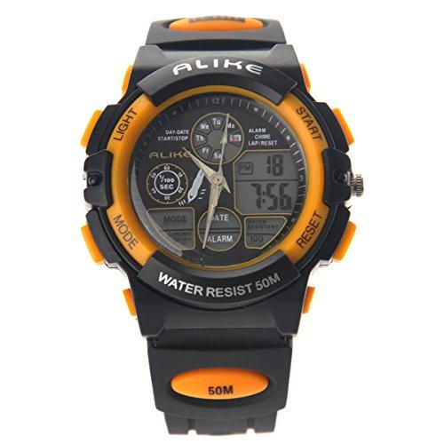 Alike AK5109 50M Impermeable Deporte Reloj Digital de los Hombres con Fecha/Alarma/Temporizador/luz de la Noche (Amarillo)