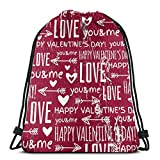 Valentine Heart and Wishes Text Love Mochilas con cordón Gym Gym Mochilas Bolsas de Hombro Regalo 36 x 43cm / 14.2 x 16.9 Pulgadas
