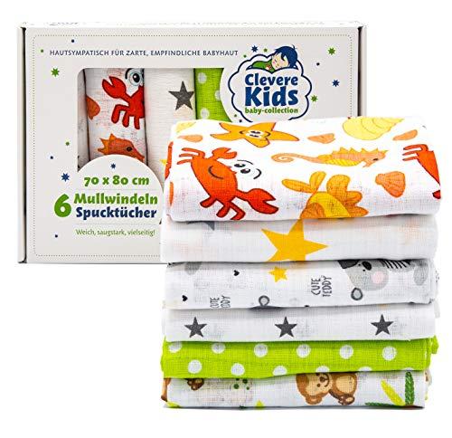Clevere Kids - Juego de 6 paños de muselina para niños, estampados, Oeko-Tex, tejido doble, 70 x 80 cm, paños para vómitos (unisex)