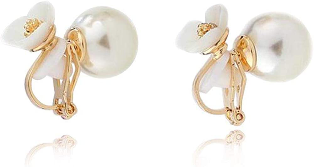 HAPPYAN High-grade Shell CZ Simulated Pearl Material Flower Shape Clip on Earrings Non Pierced for Women Costume Jewelry