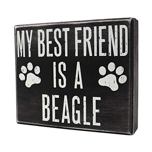 JennyGems - My Best Friend is a Beagle- Wooden Stand Up Box Sign - Beagle Moms Gift - Beagle Decor Signs - Rustic Farmhouse Box Beagle Sign, 6 x 5 x 1.5 inches, Blue tick Beagle, Shelf Knick Knacks